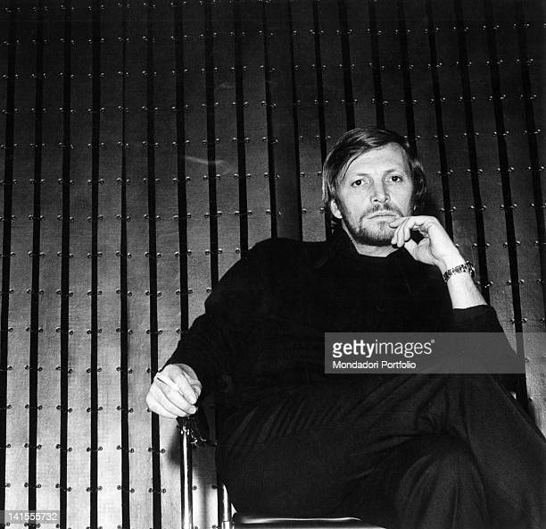The Italian actor Umberto Orsini smoking a cigarette. Milan, December 1969