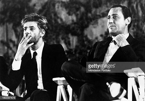 The Italian actors and voice actors Giancarlo Giannini and Alberto Sordi taking part in the David di Donatello Awards Taormina 22 July 1972