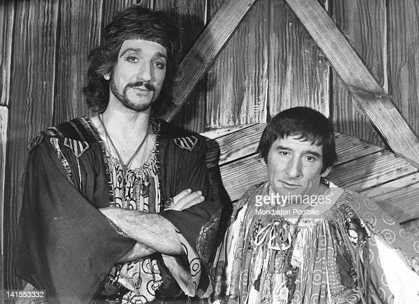 The Italian actors Gigi Proietti and Renato Rascel wearing the costumes from the play 'Alleluja brava gente' Rome 1970