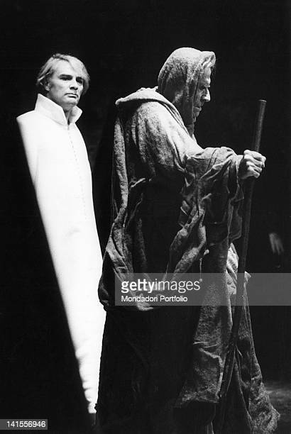The Italian actors Giorgio Albertazzi and Gualtiero Tumiati acting in the tragedy 'Oedipus rex' by Sophocles. Milan, March 1969