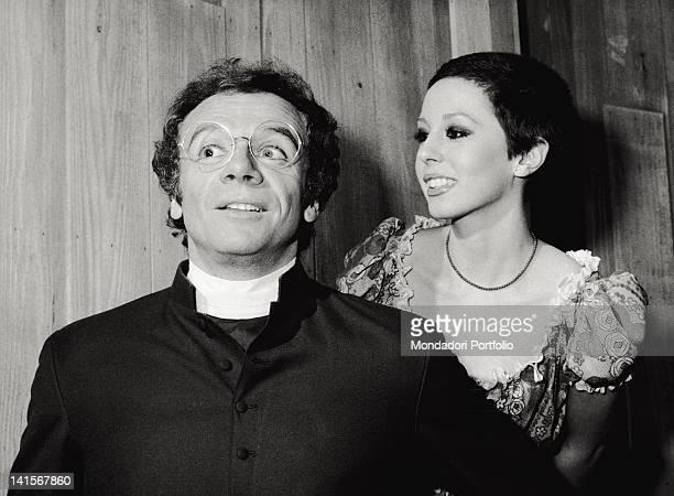 The Italian actors Johnny Dorelli and Daniela Goggi acting in the musical comedy 'Aggiungi un posto a tavola' Rome December 1974