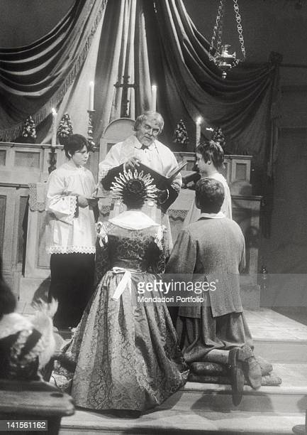 The Italian actors Nino Castelnuovo e Paola Pitagora playing the wedding scene in 'The Betrothed' . 1967