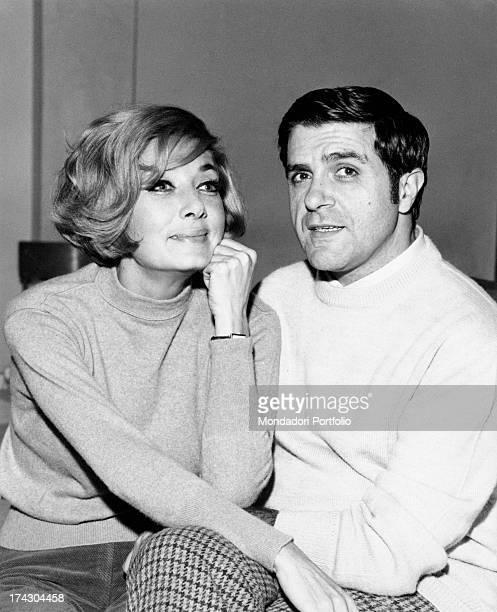 The Italian actors of theatre cinema and television Lauretta Masiero and Carlo Giuffrè are posing in a friendly attitude the two actors worked...