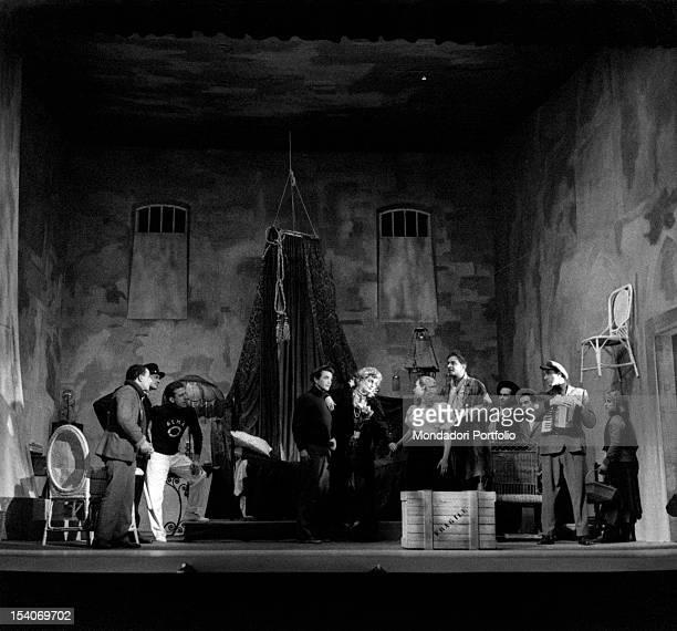 The Italian actors Sarah Ferrati Marina Dolfin Giorgio De Lullo Tino Carraro and Romolo Valli acting in the play The Madwoman of Chaillot Milan 1950s