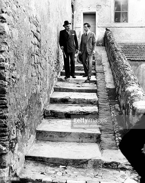 The Italian actors scriptwriters and directors Adolfo Celi and Adalberto Maria Merli acting in 'Black Holiday' Rome 1973