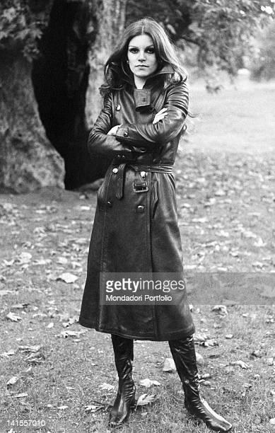 The Italian actress and singer Milva posing in a park Rome November 1969