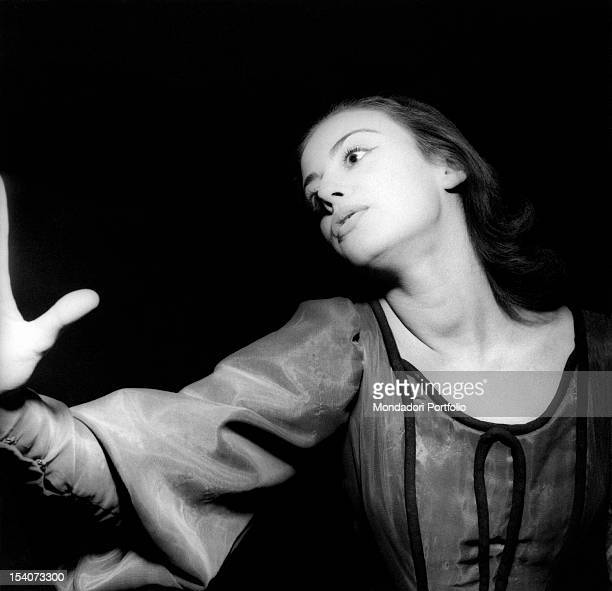 The Italian actress Anna Maria Ferrero acting in Hamlet. Milan, 12th January 1954