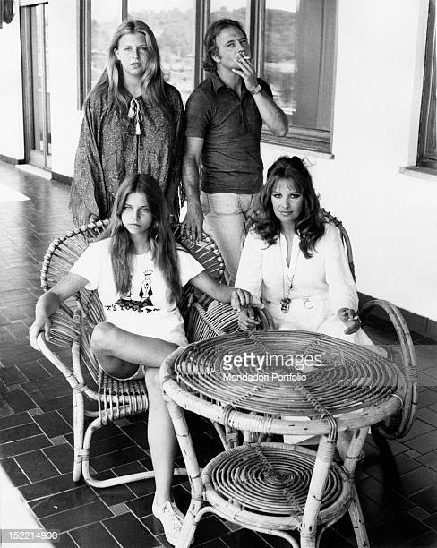 The Italian actress Antonella Lualdi posing with her husband the Italian actor Franco Interlenghi and her daughters Stella and Antonella Rome 1970s