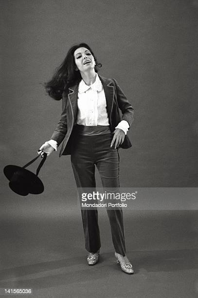 The Italian actress Bedy Moratti posing for a portrait wearing a hat Italy 1960s