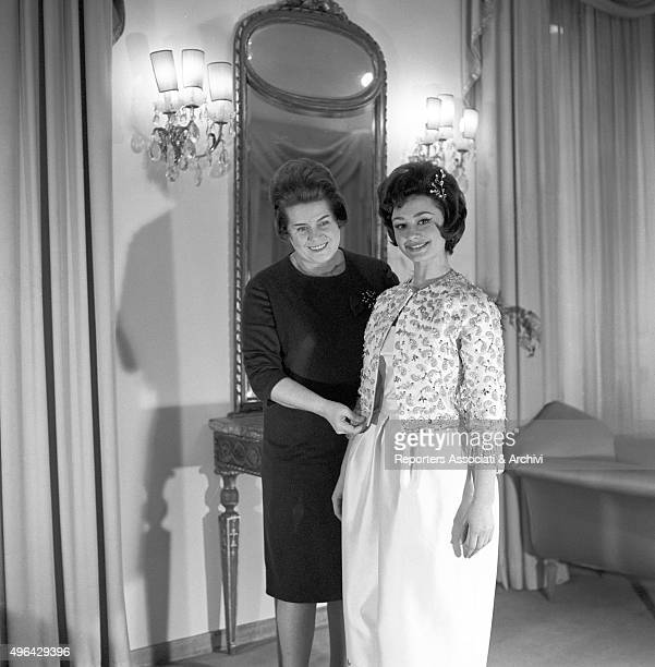The Italian actress dancer singer and showgirl Raffaella Carrà posing in the Clara Centinaro's atelier wearing a dress of her collection Rome 22nd...