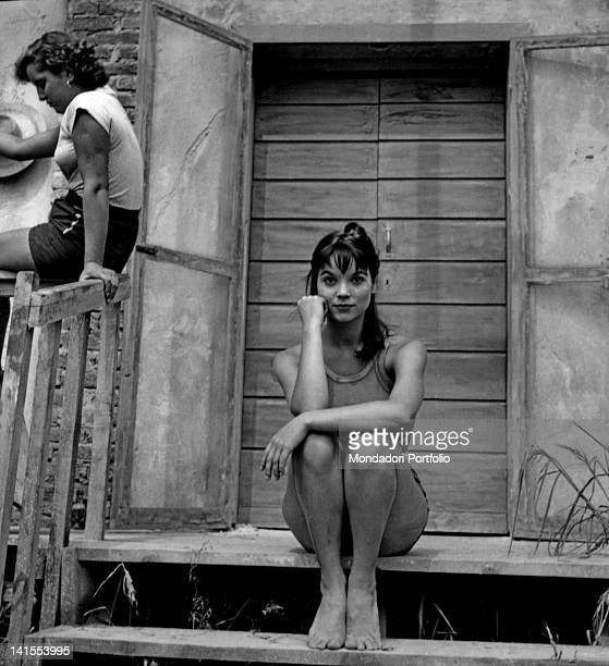 The Italian actress Elsa Martinelli posing in front of a farmhouse during the shooting of the movie 'La risaia' at the farm called 'La Graziosa'...