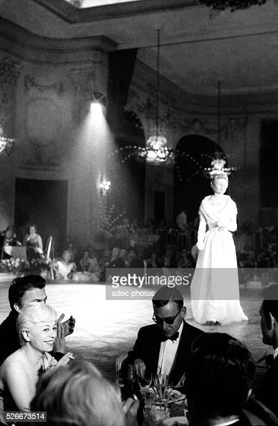 The Italian actress Giulietta Masina at the Cannes Film Festival in 1957 where she has received the Best Actress Award for her role in the film...