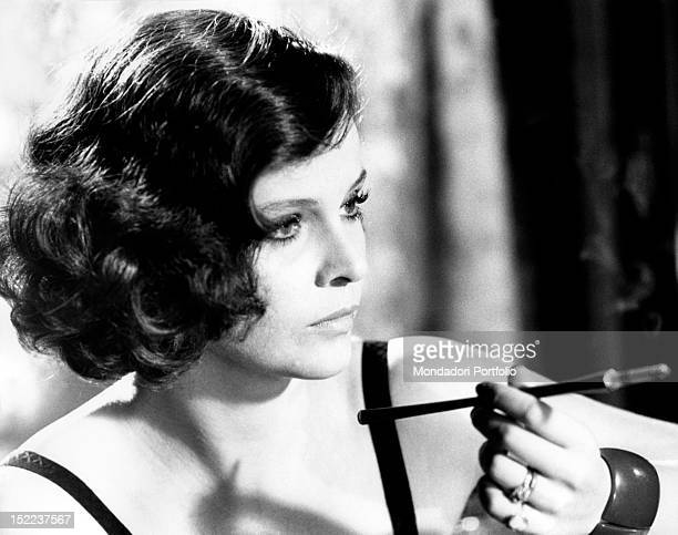 The Italian actress Laura Antonelli acting in the film 'Till marriage do us part'. Rome, 1974
