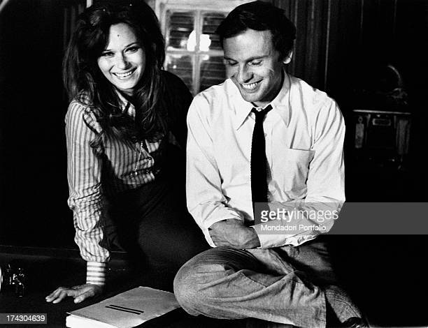 The Italian actress Lea Massari and the French actor JeanLouis Trintignant are going over their lines of the script of the film And Hope to Die...