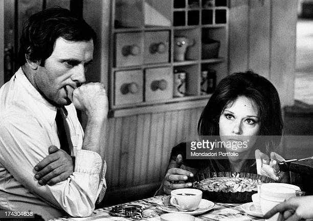 The Italian actress Lea Massari and the French actor JeanLouis Trintignant on the set of the film And Hope to Die directed by Renè Clèment in the...