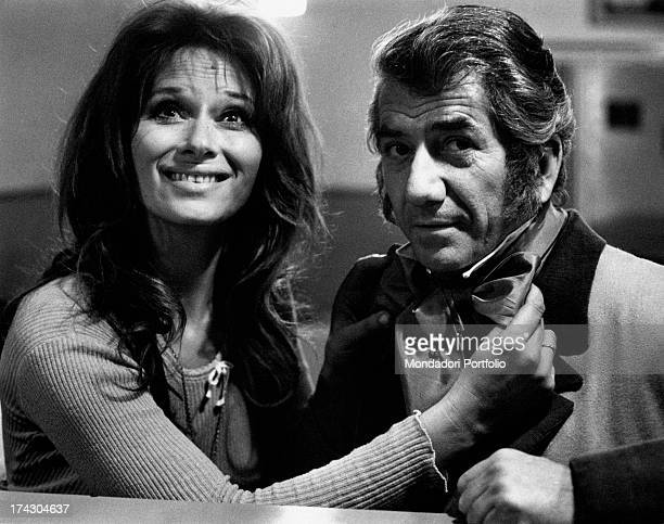 The Italian actress Lea Massari, on the set of the film And Hope to Die directed by Renè Clèment, with the French actor Daniel Gèlin, who is playing...