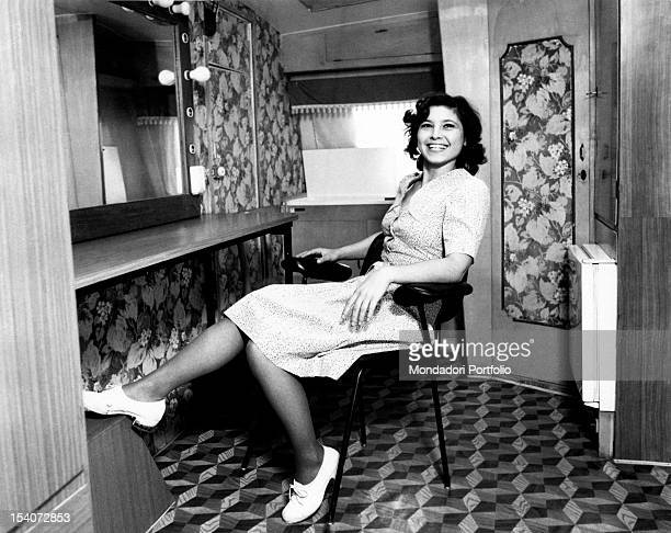 The Italian actress Lina Polito having a rest in the dressing room waiting to act in Salvo D'Acquisto. Rome, 1975