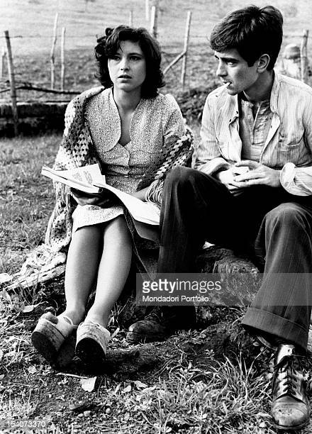 The Italian actress Lina Polito rereading the script with the Italian actor Paolo Turco on the set of the film Salvo D'Acquisto. Rome, 1975