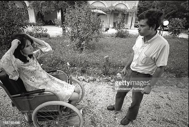 The Italian actress Lisa Gastoni talking to the Italian director Salvatore Samperi on the set of the film Grazie zia Italy 1960s