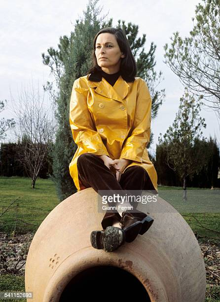 The Italian actress Lucia Bosé during the filming of the TV show Double Image in the garden of her home in Somosaguas Madrid Spain