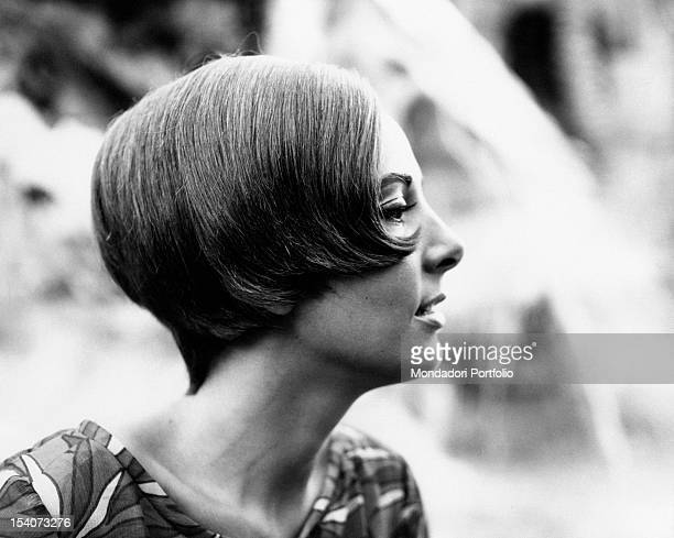 The Italian actress Luisella Boni showing a new hairstyle 1964