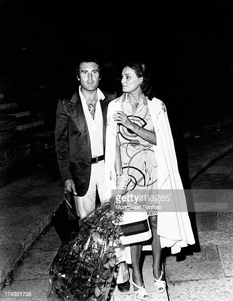 The Italian actress Lydia Alfonsi born Lidia Alfonsi with a bouquet of flowers in hand together with her husband Vincenzo Messina within the...