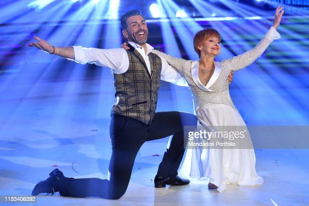 The Italian actress Milena Vukotic with her dance master Simone Di Pasquale third finishers during the final episode of the show Ballando Con Le...