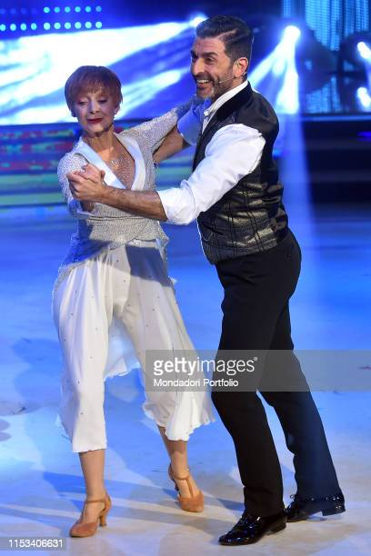 The Italian actress Milena Vukotic with her dance master Simone Di Pasquale during the final episode of the show Ballando Con Le Stelle auditorium...