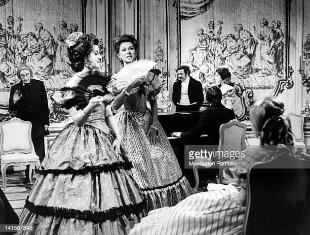 The Italian actress Olga Villi with Angelo Alessio and Wanda Benedetti in the television adaptation 'Gioacchino Rossini' directed by Alda Grimaldi...