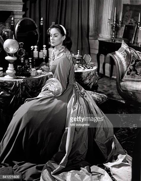 The Italian actress on the set of the film Senso directed by Luchino Visconti