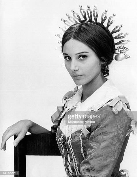 The Italian actress Paola Pitagora playing Lucia Mondella in the TV serial 'I Promessi sposi'. Italy, 1967