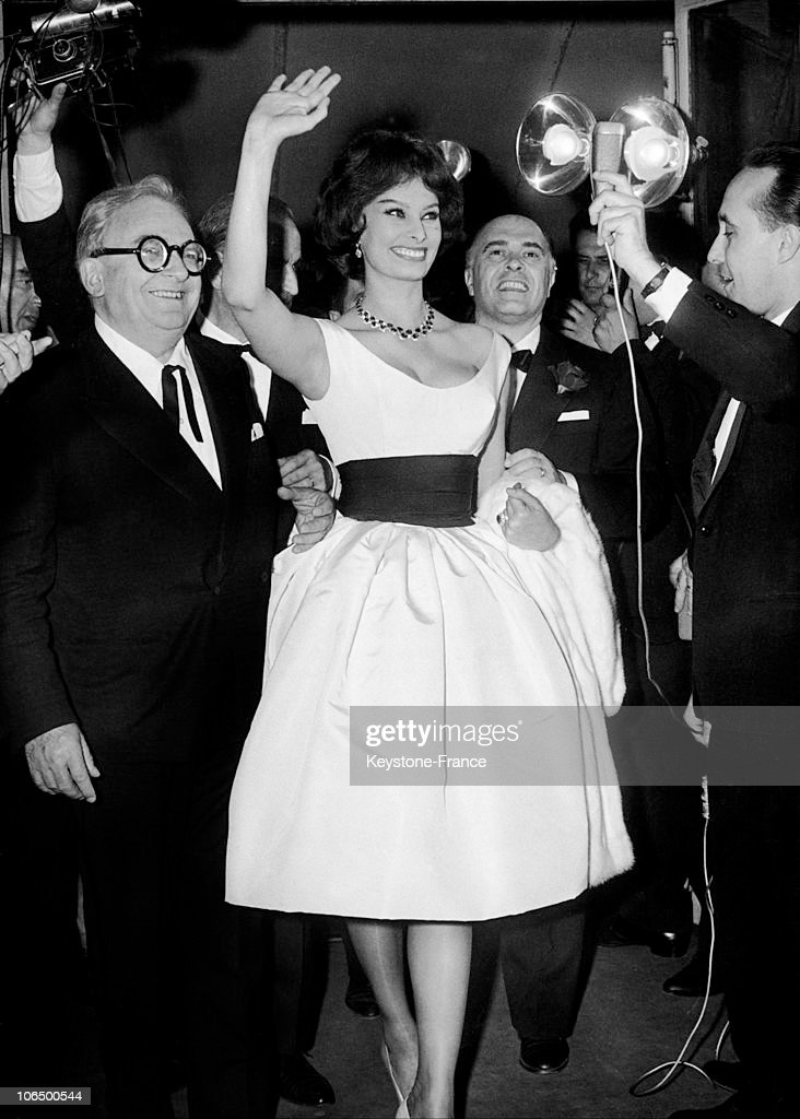 Marcel Achard, Sophia Loren And Carlo Ponti At The Cannes Film Festival 1959 : News Photo