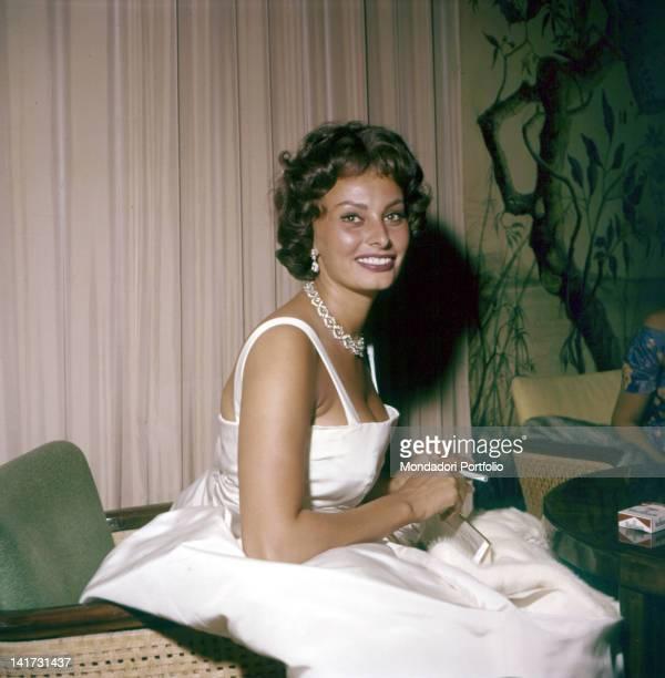 The Italian actress Sophia Loren smiling during the Film Festival Venice 1958