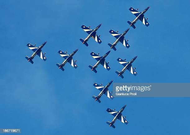 The Italian aerobatic team during an exhibition in Rimini, Italy