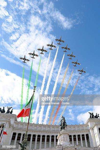 The Italian Air Force aerobatic unit Frecce Tricolori creates a display with the colors of the Italian flag over the Italian Parliament building as...
