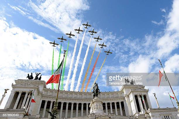 ROME ITALY JUNE 02 The Italian Air Force aerobatic unit Frecce Tricolori creates a display with the colors of the Italian flag over the Italian...
