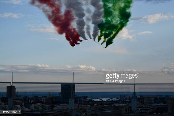 The Italian Air Force aerobatic unit Frecce Tricolori spread smoke with the colors of the Italian flag during the official inauguration ceremony of...