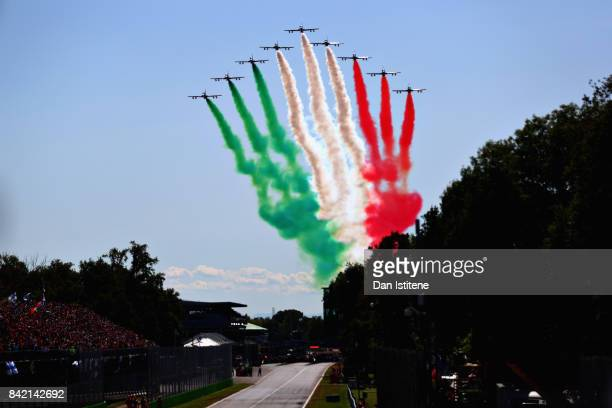 The Italian Airforce perform a fly past before the Formula One Grand Prix of Italy at Autodromo di Monza on September 3 2017 in Monza Italy