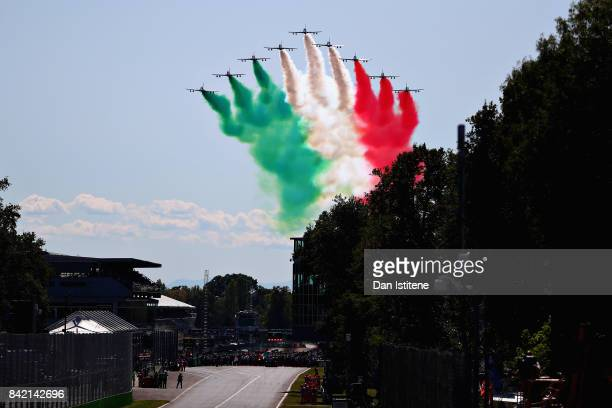 The Italian Airforce perform a fly past before the Formula One Grand Prix of Italy at Autodromo di Monza on September 3, 2017 in Monza, Italy.