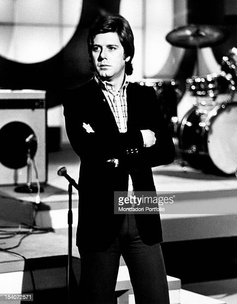 The Italian anchorman and singer Claudio Lippi presenting the TV variety show Tanto piacere Rome 1974