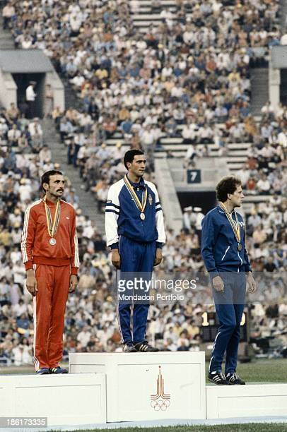The italian athlete Maurizio Damilano rewarded with the golden medal for the first place in the 20km walk's race at the Moscow Olympic games Moscow...