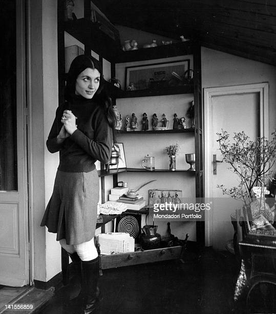 The Italian ballerina Carla Fracci photographed in her mansard in via Santo Spirito Milan February 1969
