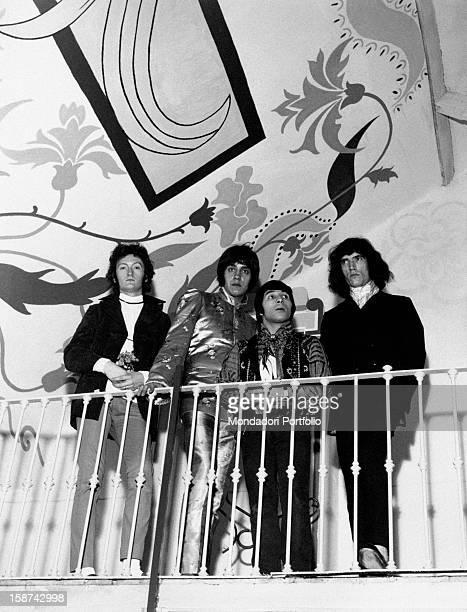 The Italian band Equipe 84 posing at the parapet Italy 1968