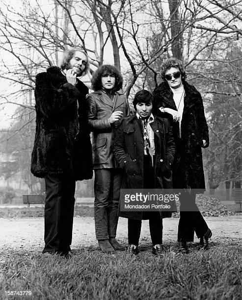 The Italian band Equipe 84 posing at the park Milan 1968