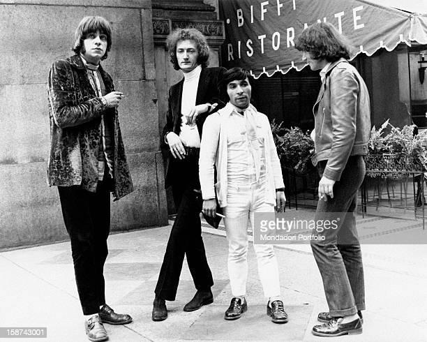 The Italian band Equipe 84 standing in Galleria Vittorio Emanuele II Milan May 1968