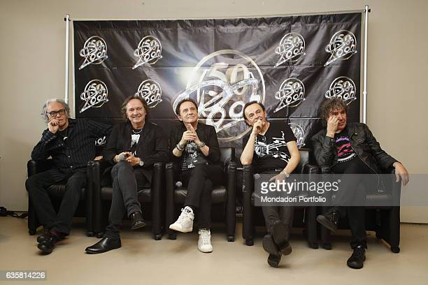 """The Italian band Pooh awarded with a platinum """"Telegatto Anniversary Special"""" by the director of Sorrisi Aldo Vitali to celebrate the band's golden..."""