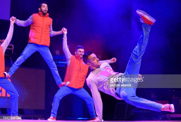 The Italian breakdance team 'De Klan' performs on stage during the Breakdance World Championships 'Battle Of The Year' in Braunschweig Germany 19...