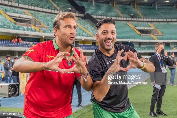 "The Italian comedians Pio and Amedeo draw a heart with their hands on September 03, 2020 in Verona, Italy. The ""Partita del Cuore"" is a football..."