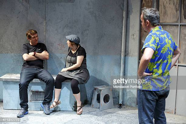 The Italian comic actor Gioele Dix real name David Ottolenghi seats on the stage together with Maria Di Biase and Corrado Nuzzo during the rehearsal...