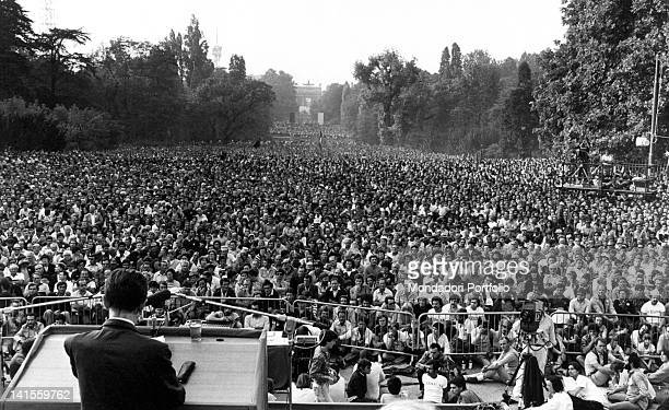 The Italian Communist Party General Secretary Enrico Berlinguer giving a speech at the Parco Sempione during the Festa dell'Unita Milan September 1979